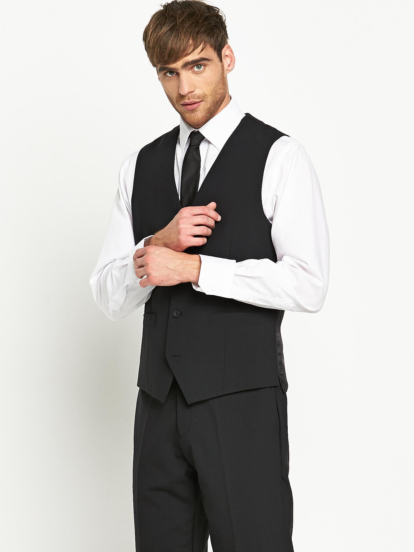 Mens Otis Suit Waistcoat - Black, Black