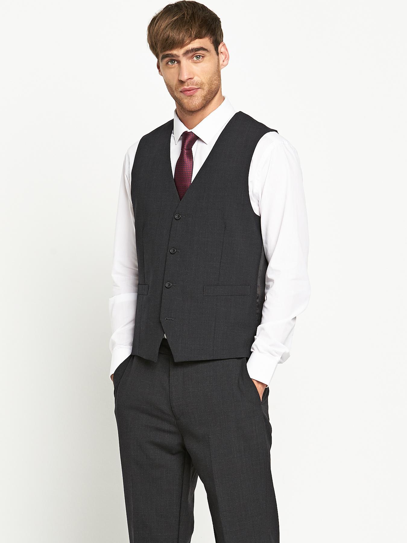 Mens Otis Suit Waistcoat - Charcoal, Charcoal at Littlewoods