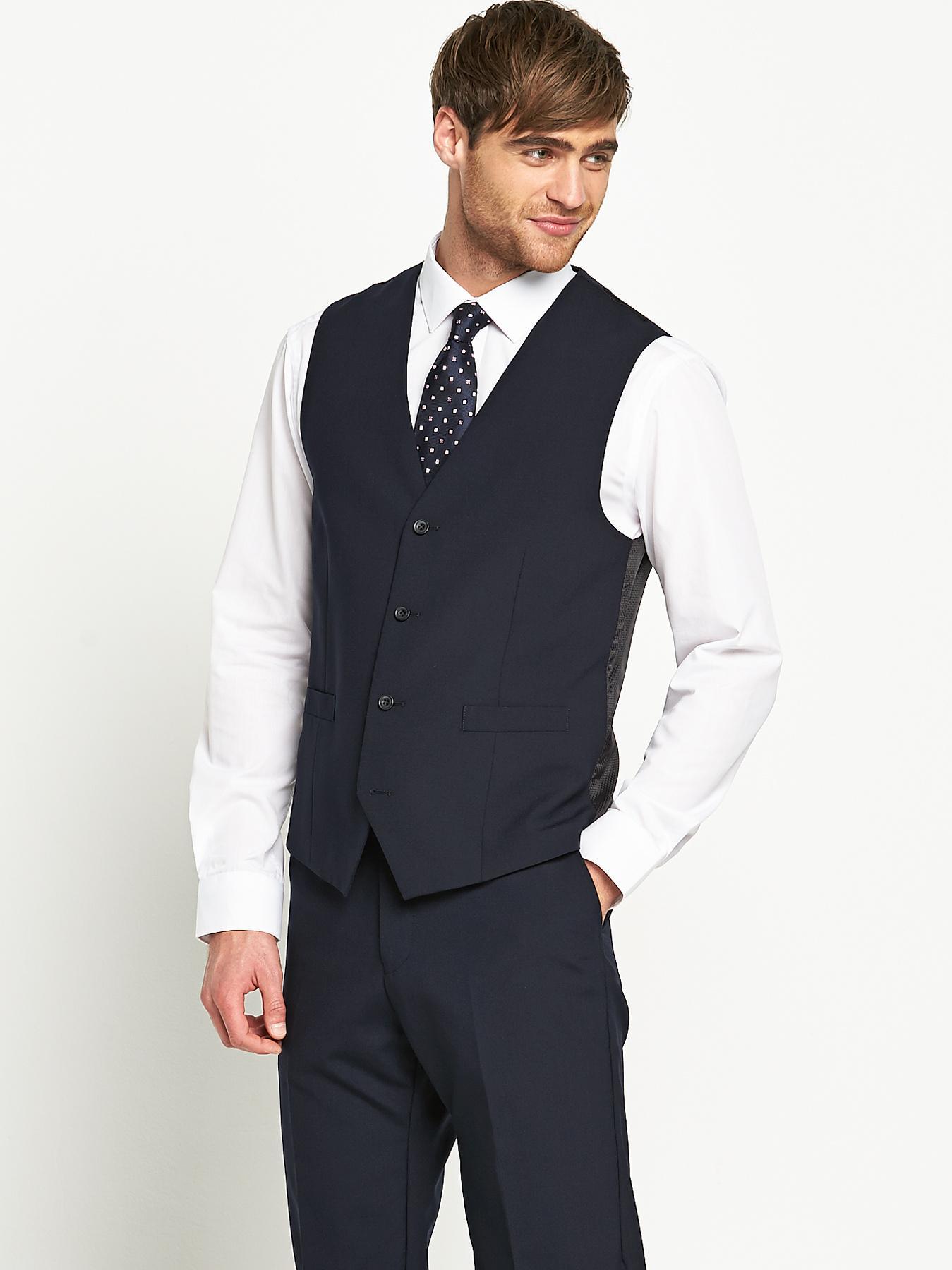 Mens Otis Suit Waistcoat - Navy, Navy