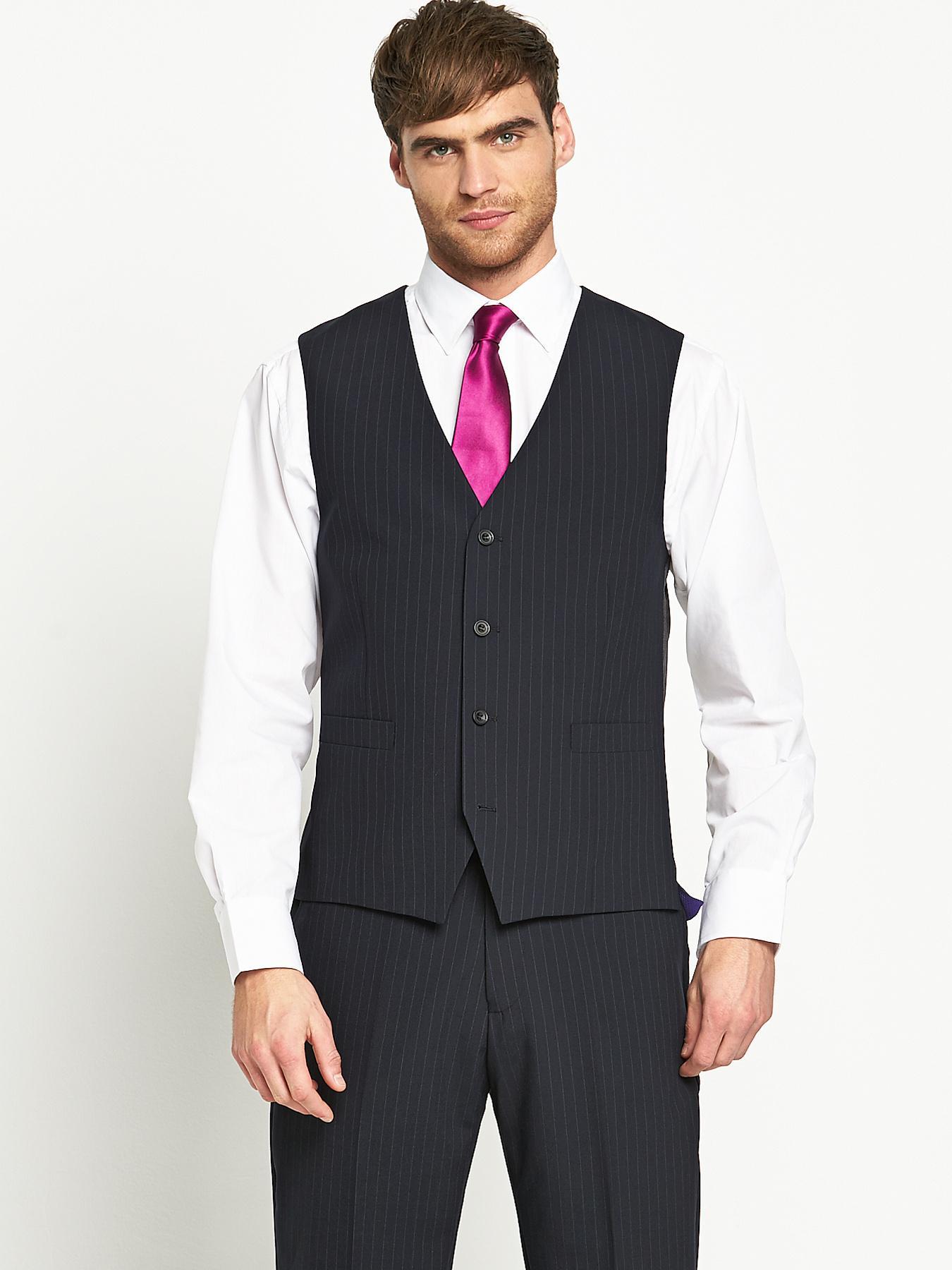 Mens Otis Suit Waistcoat - Navy Stripe, Navy