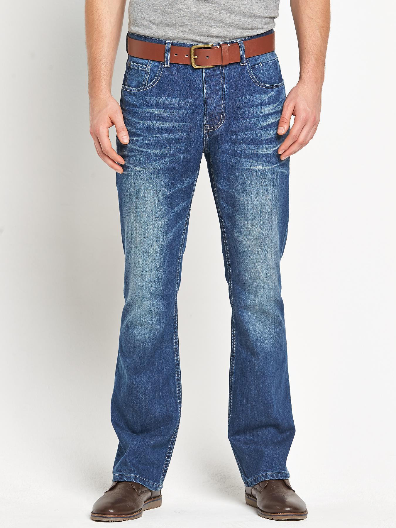 Mens Belted Bootfit Mid Blue Wash Jeans, Blue at Littlewoods