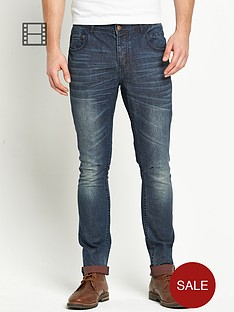 goodsouls-mens-tapered-contrast-turn-up-dark-vintage-wash-jeans