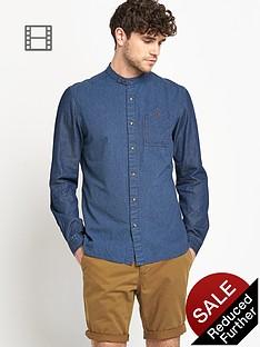 goodsouls-mens-long-sleeve-grandad-collar-navy-stripe-shirt