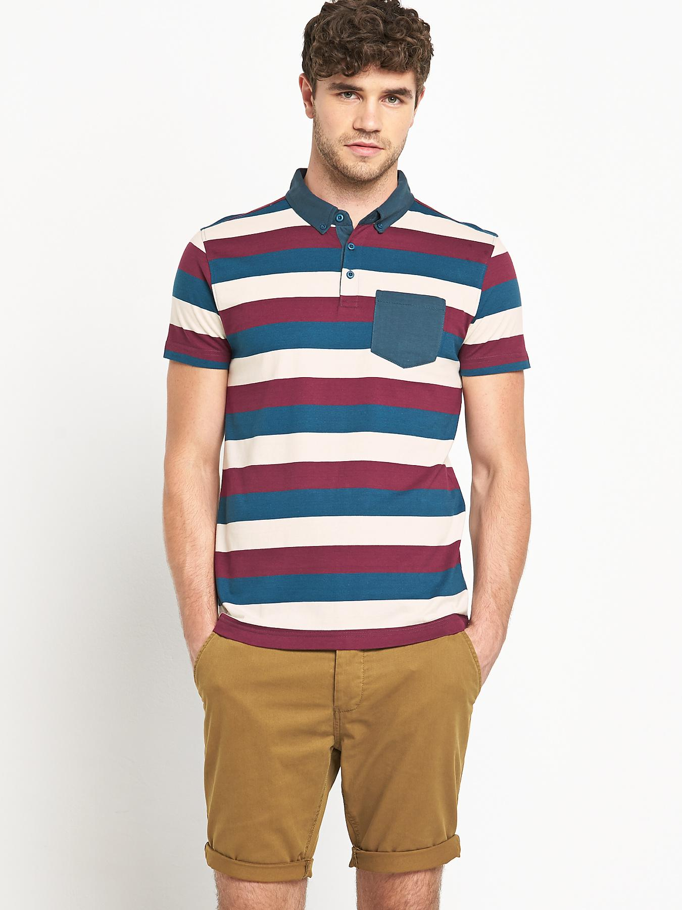 Mens Short Sleeve Slim Fit Jersey Polo Top at Littlewoods