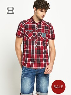 goodsouls-mens-short-sleeve-burgundy-check-ribbed-collar-shirt