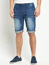 Mens Denim Mid Blue Shorts
