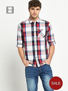 goodsouls-mens-long-sleeve-roll-tab-cotton-red-check-shirt