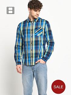 goodsouls-mens-long-sleeve-roll-tab-cotton-blue-check-shirt