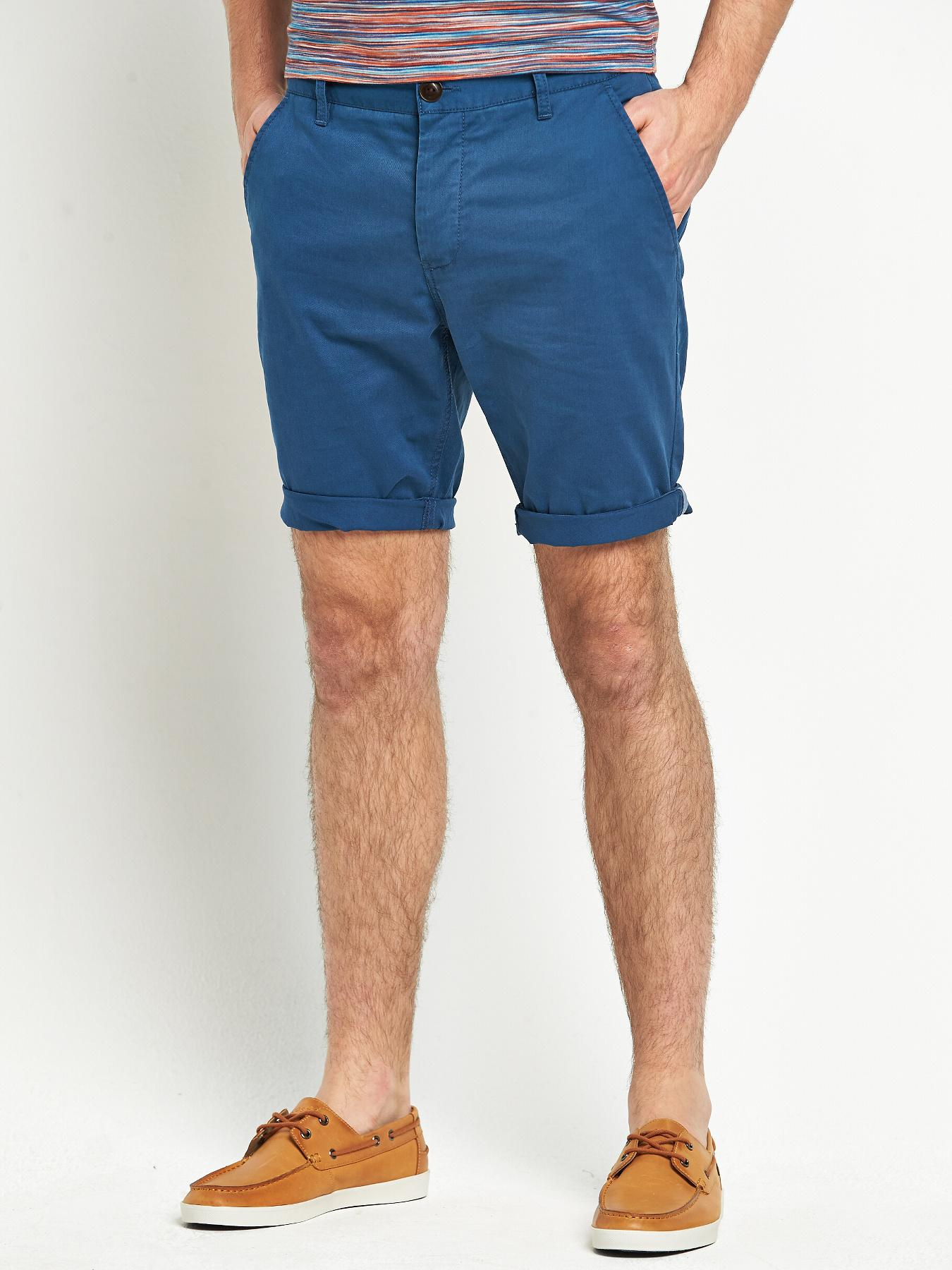 Mens Chino Shorts, Petrol at Littlewoods