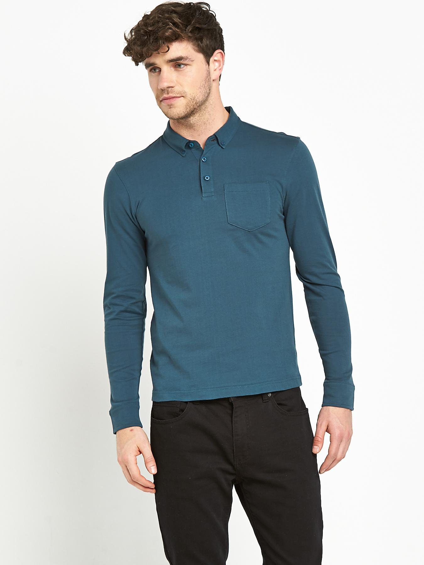 Mens Long Sleeve Slim Fit Jersey Polo Top, Petrol at Littlewoods