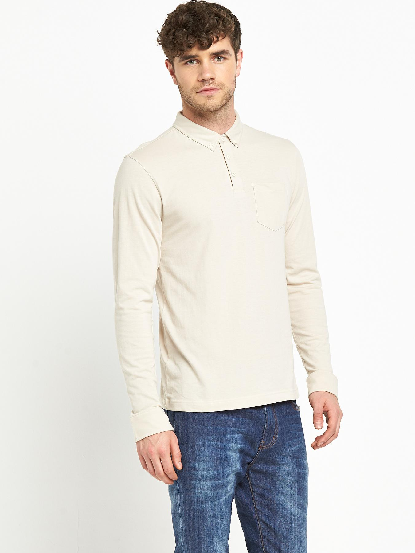 Mens Long Sleeve Slim Fit Jersey Polo Top, Stone at Littlewoods