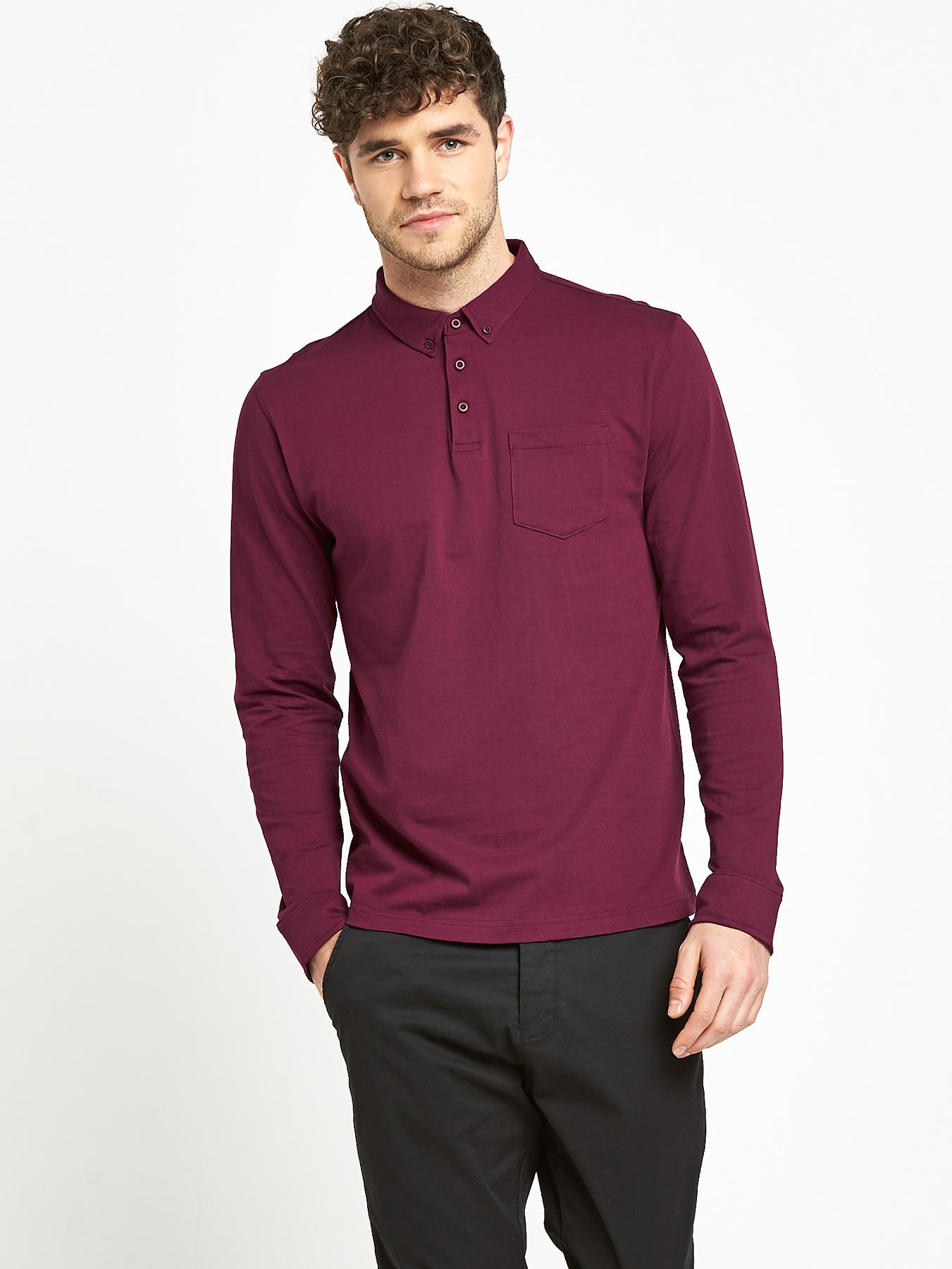 Mens Long Sleeve Slim Fit Jersey Polo Top at Littlewoods