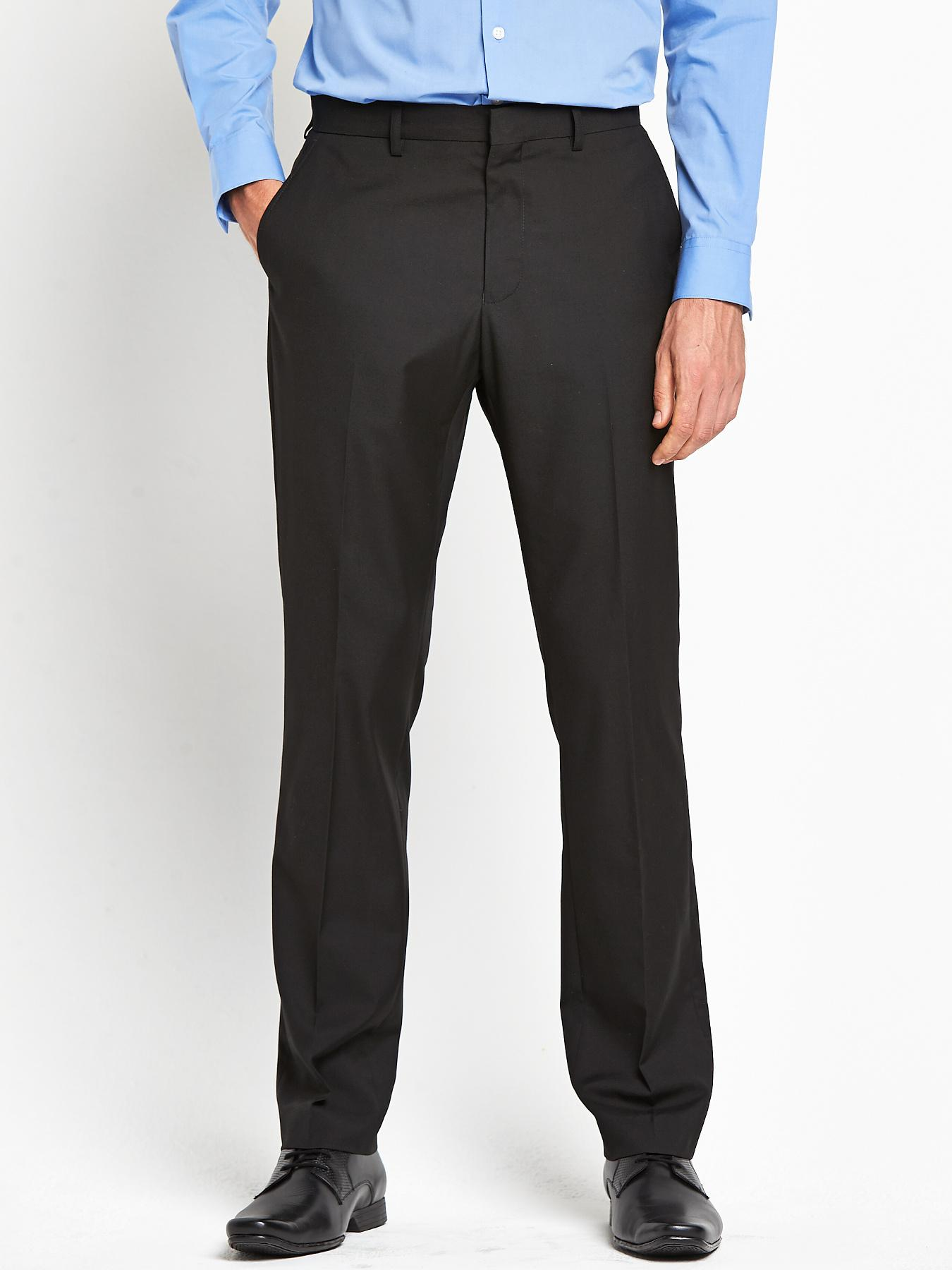 Mens Tailored Suit Trousers - Black, Black