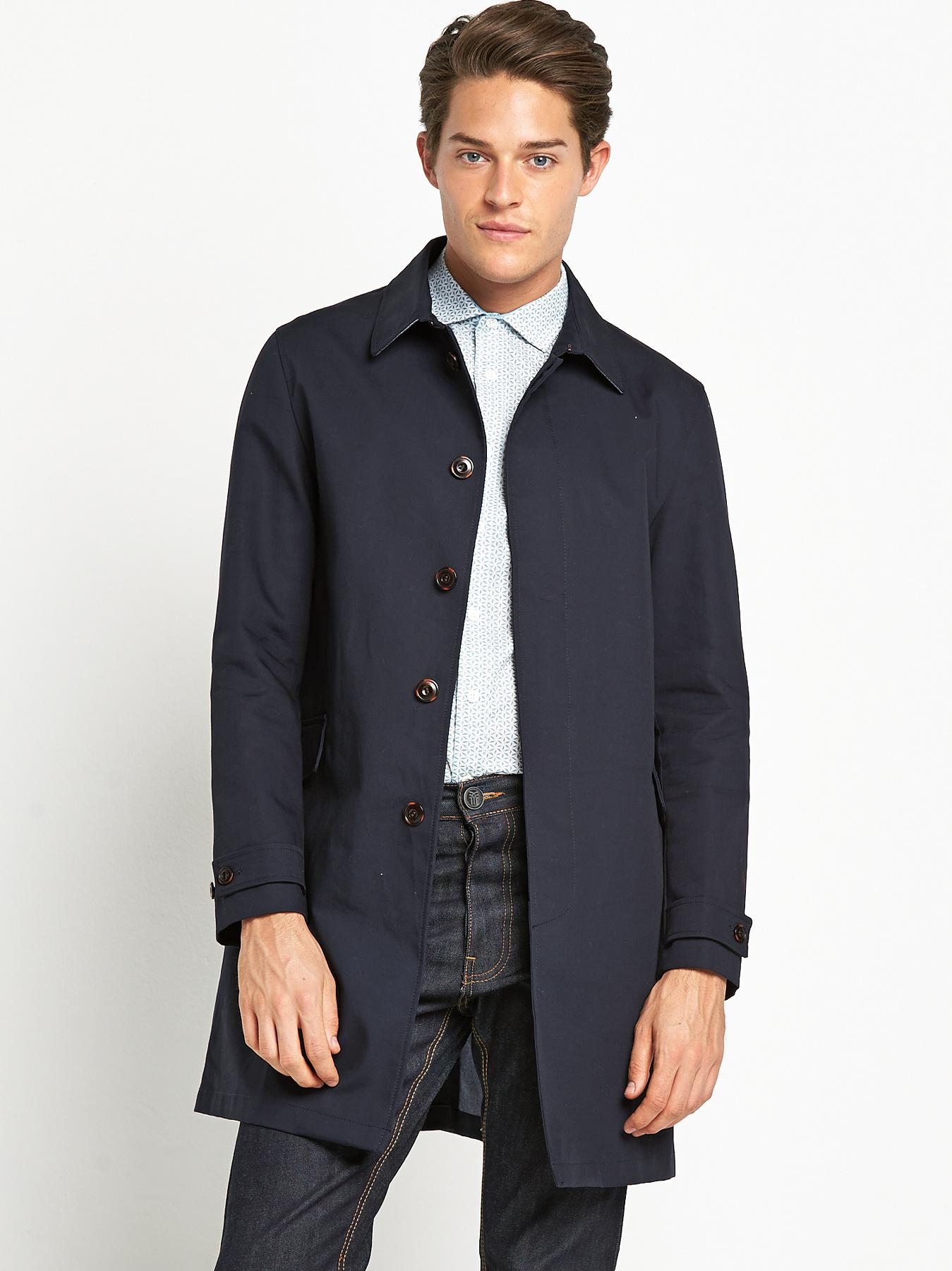 Mens Single Breasted Mac, Navy