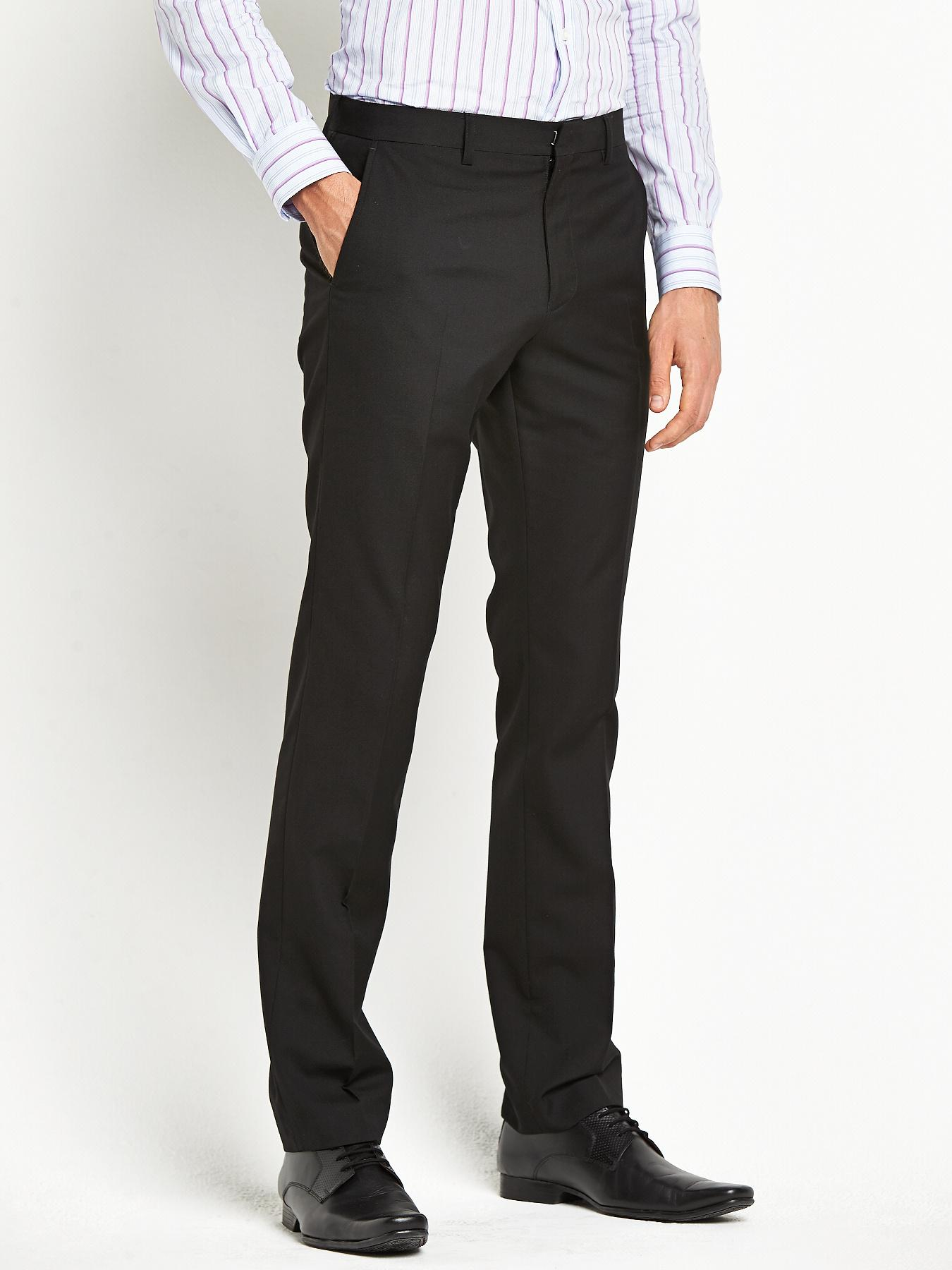 Mens Slim Suit Trousers - Black, Black
