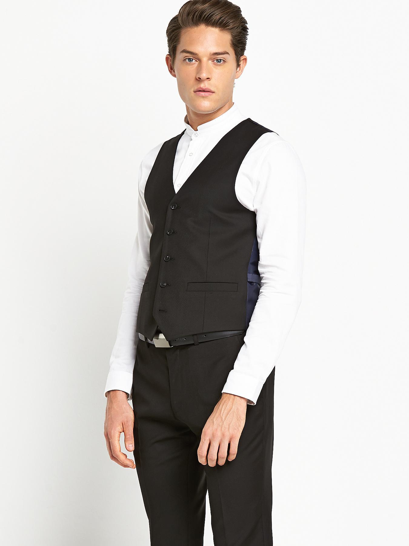 Mens Skinny Fit Black PV Waistcoat, Black at Littlewoods