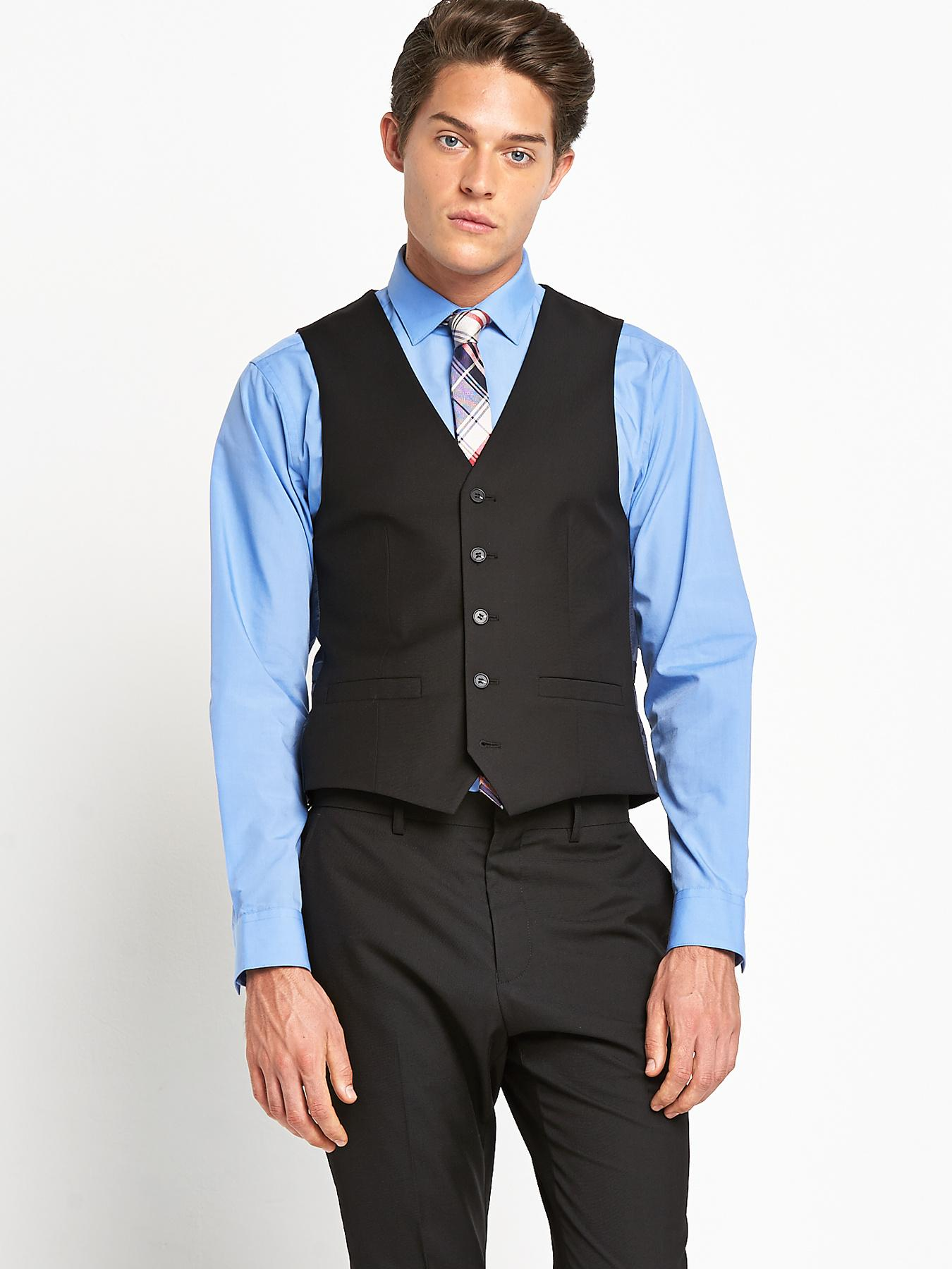 Mens Tailored Fit Waistcoat - Black, Black