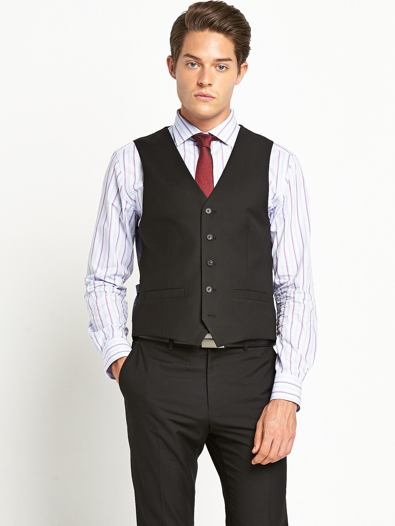 Mens Slim Fit PV Suit Waistcoat - Black, Black
