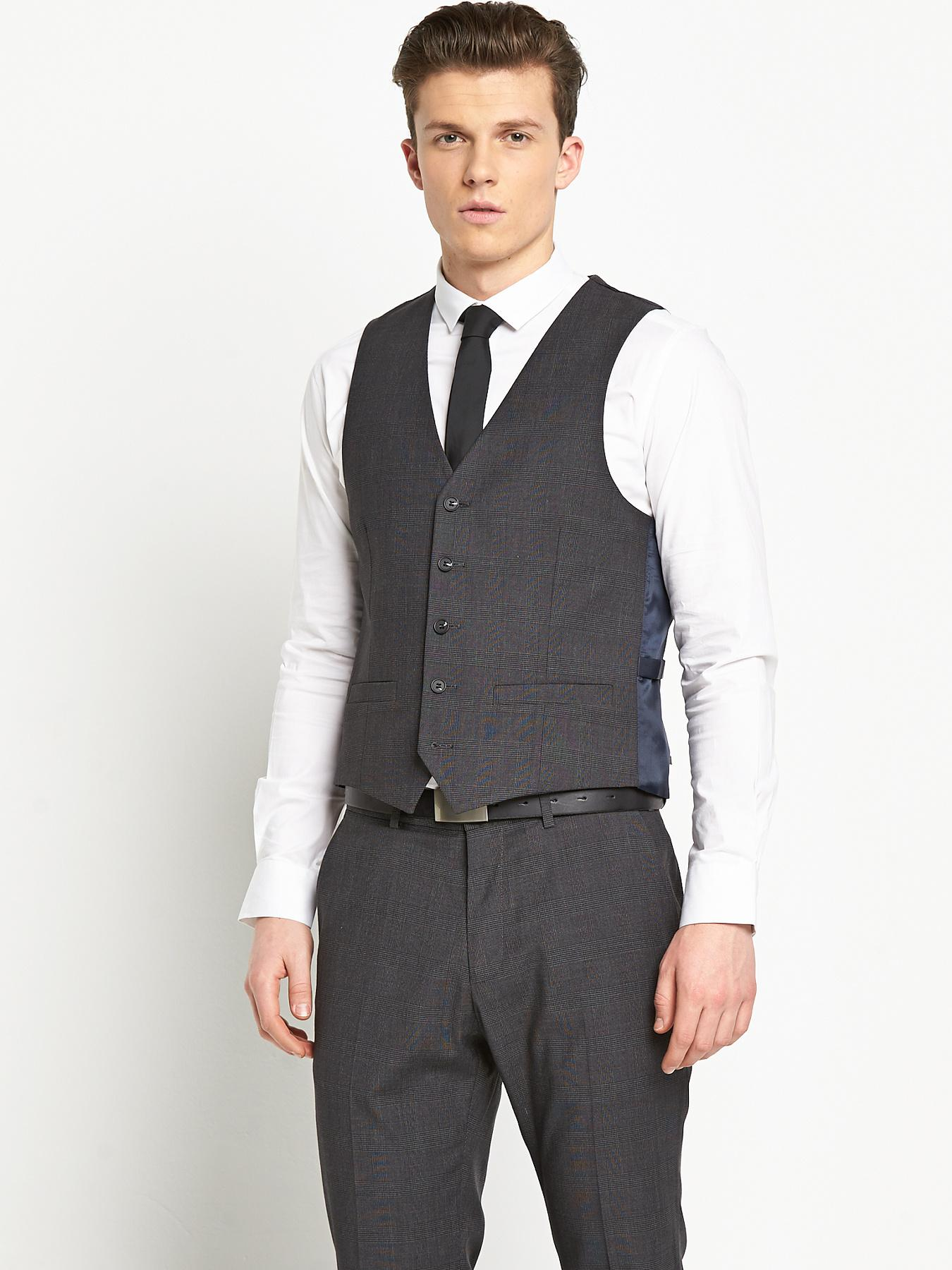 Mens Tailored Check Waistcoat