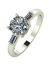 18 Carat White Gold, 1.25 Carat Solitaire Tapered Shoulder Ring