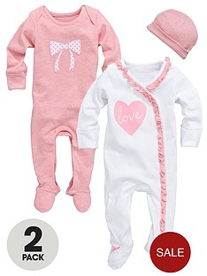 ladybird-baby-girls-love-heart-sleepsuits-with-hat-2-pack