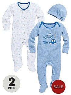 ladybird-baby-boys-star-and-car-sleepsuits-with-hat-2-pack