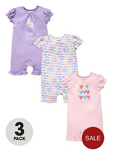 ladybird-baby-girls-frill-sleeve-rompers-3-pack