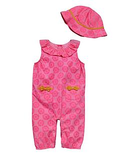 ladybird-baby-girls-woven-romper-suit-and-hat-set-2-piece