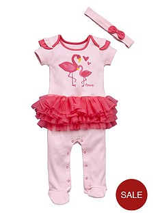 ladybird-baby-girls-flamingo-tutu-sleepsuit-and-headband-set-2-piece