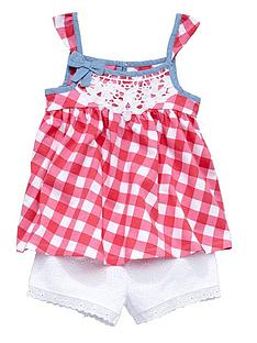 ladybird-girls-pretty-gingham-top-and-crochet-shorts-set-2-piece