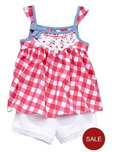 ladybird-girls-pretty-gingham-top-and-crochet-shorts-set-2-piece