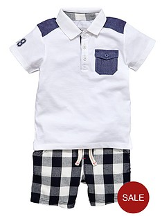 ladybird-boys-check-shorts-and-polo-t-shirt-set-2-piece