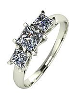 9ct White Gold 1ct 3 Stone Square Cut Ring