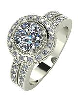 9 Carat White Gold, 1.5 Carat Solitaire Ring with Moissanite Set Halo and Shoulders