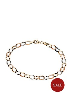 elements-9ct-three-colour-gold-oval-linked-drop-bracelets