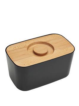 joseph-joseph-melamine-bread-bin-with-beech-wood-lid-black