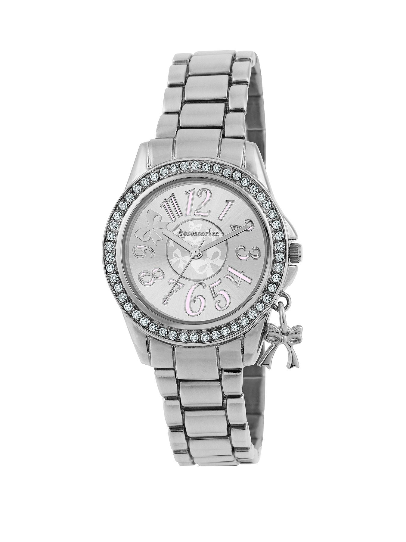 Silver Tone Crystal Set Ladies Watch Featuring a Bow Charm at Littlewoods