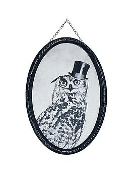 Graham & Brown Oswald Owl Oval Canvas With Hanging Chain
