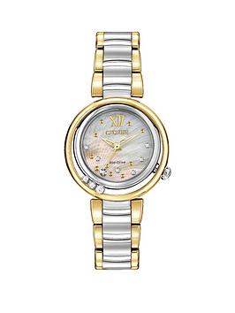 citizen-eco-drive-sunrise-diamond-two-tone-stainless-steel-bracelet-ladies-watch