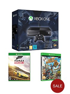 xbox-one-console-with-forza-horizon-2-sunset-overdrive-and-halo-the-masterchief-collection-with-optional-extra-controller-and-12-months-xbox-live