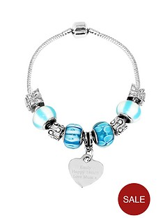 personalised-silver-tone-sea-blue-charm-bracelet