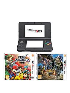 nintendo-3ds-new-black-console-with-monster-hunter-4-super-smash-bros-and-adaptor