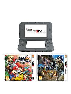 nintendo-3ds-xl-new-metallic-black-console-with-monster-hunter-4-super-smash-bros-and-adaptor