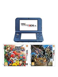 nintendo-3ds-xl-new-metallic-blue-console-with-monster-hunter-4-super-smash-bros-and-adaptor