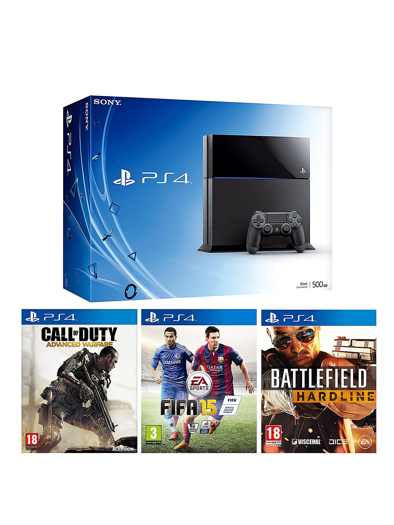 500Gb Black Console with Battlefield Hardline FIFA 15 Call of Duty Advanced Warfare