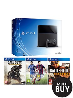 playstation-4-500gb-black-console-with-battlefield-hardline-fifa-15-call-of-duty-advanced-warfare