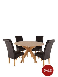 starburst-round-dining-table-and-4-brook-faux-leather-chairs