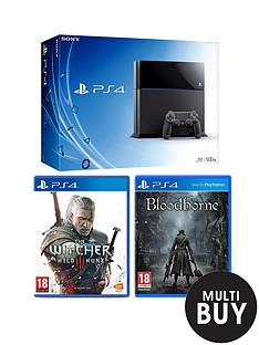 playstation-4-500gb-black-console-with-the-witcher-3-wild-hunt-and-bloodborne-and-optional-12-months-playstation-plus-and-extra-dualshock-4-controller