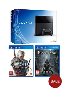playstation-4-500gb-black-console-with-the-witcher-3-wild-hunt-and-bloodborne-or-optional-12-months-playstation-plus-and-extra-dualshock-4-controller