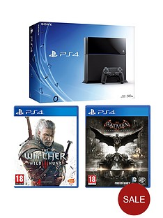 playstation-4-500gb-black-console-batman-arkham-knight-the-witcher-3-wild-hunt